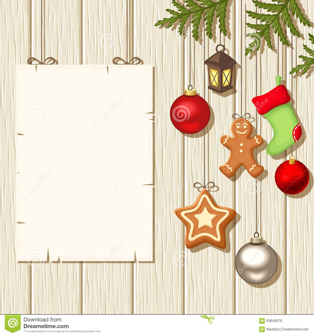 Christmas hanging decorations and a placard on a wooden background. Vector illustration.