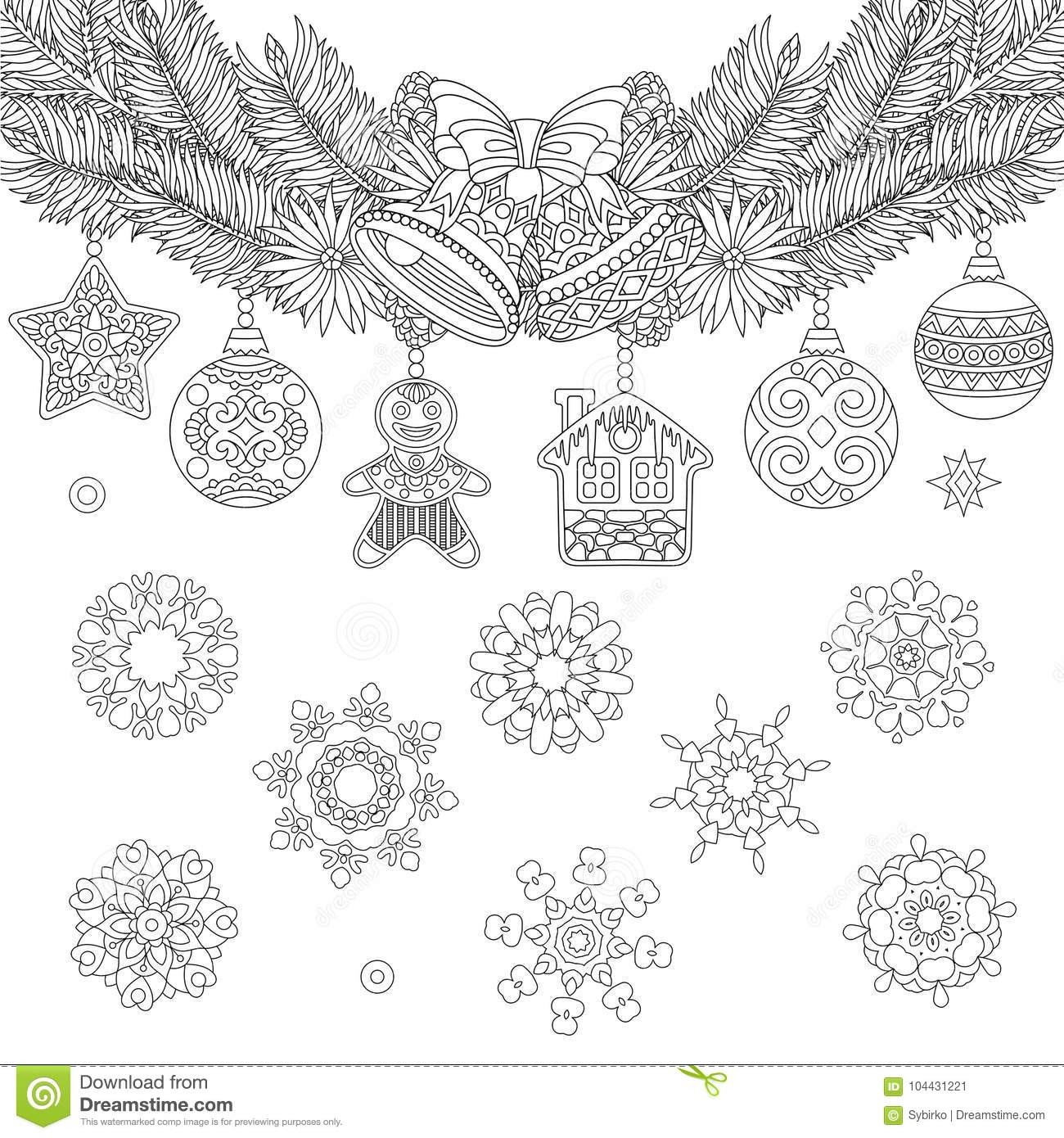 Christmas Hanging Vintage Ornaments Stock Vector