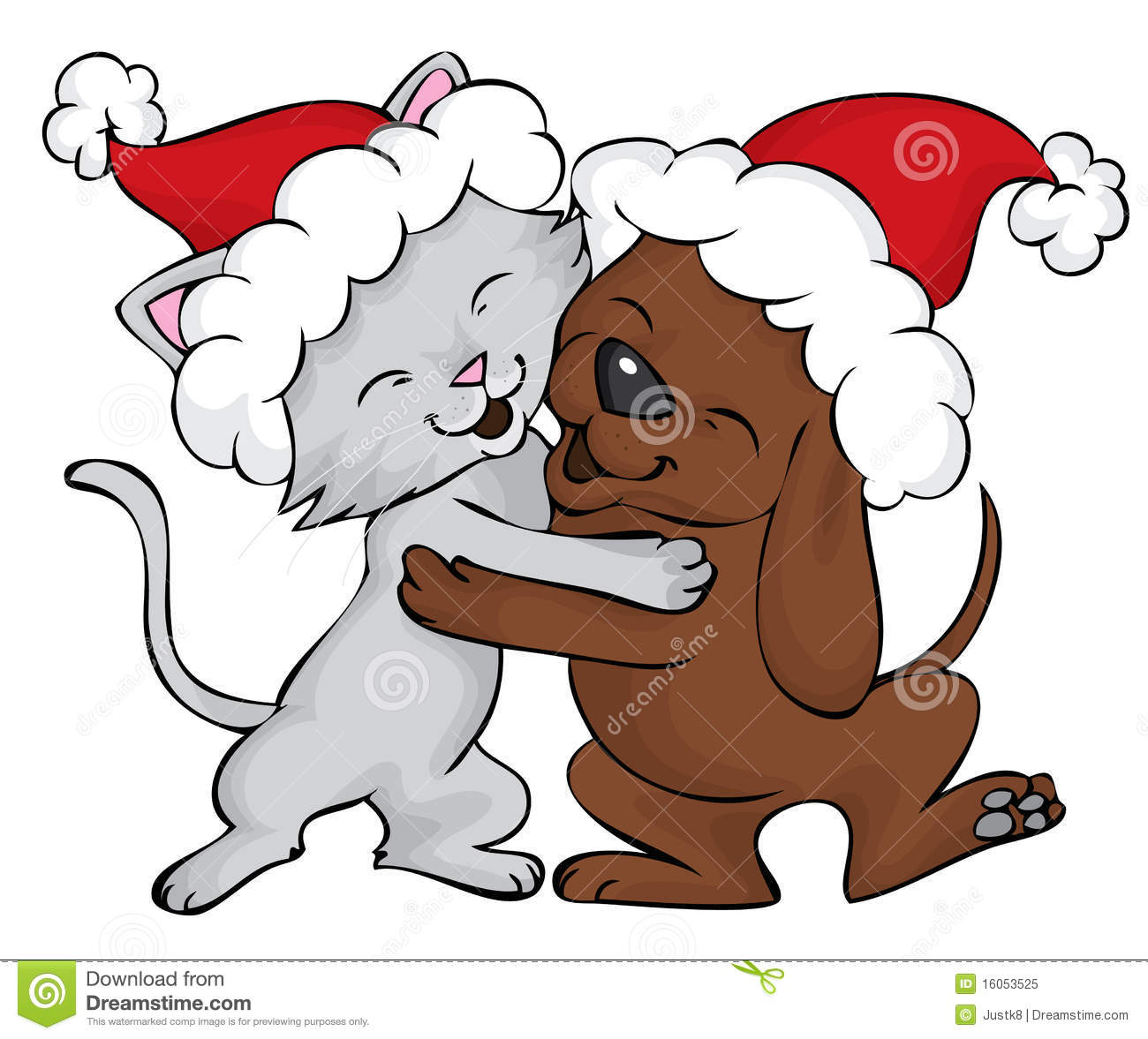Dog And Cat Holiday Cartoon