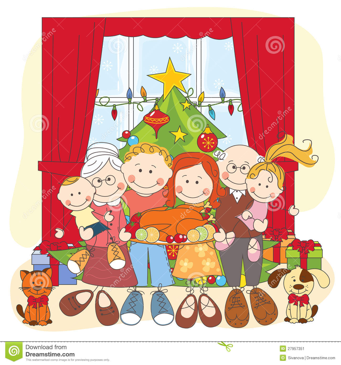 Christmas. Happy Family Together. Stock Vector - Image ...