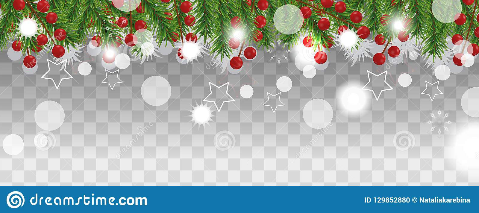 Christmas and happy New Year border of Christmas tree branches with holly berry on transparent background. Holidays decoration. Ve