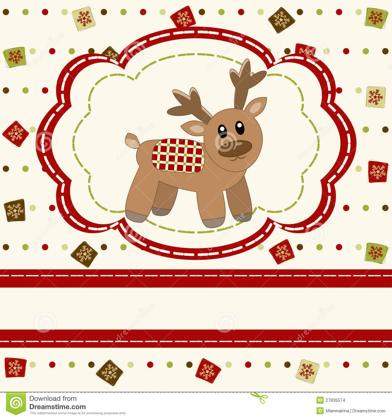 Christmas And Happy New Year Card With Cute Deer