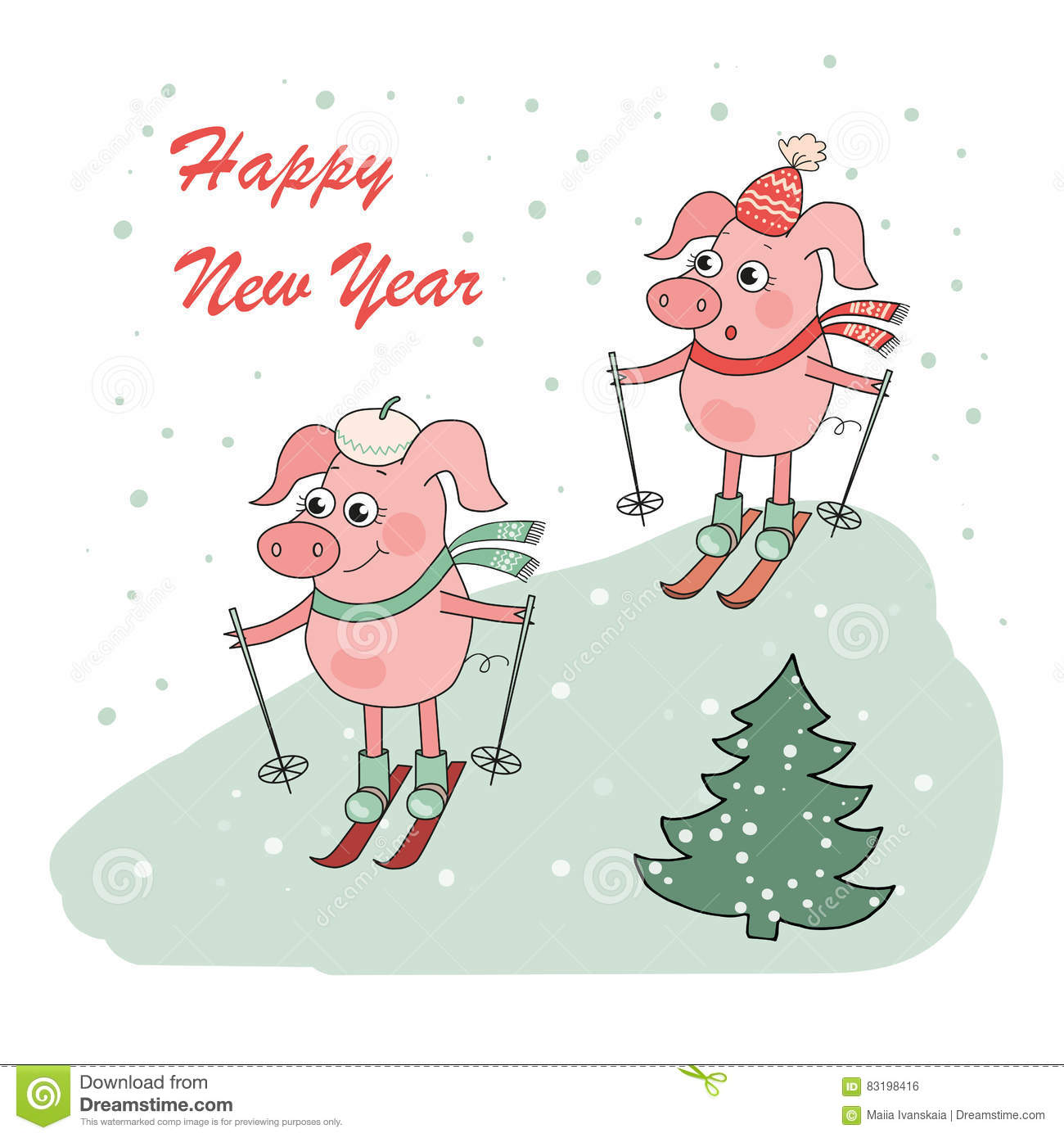 christmas and happy new year card with two small cartoon little pigs skie
