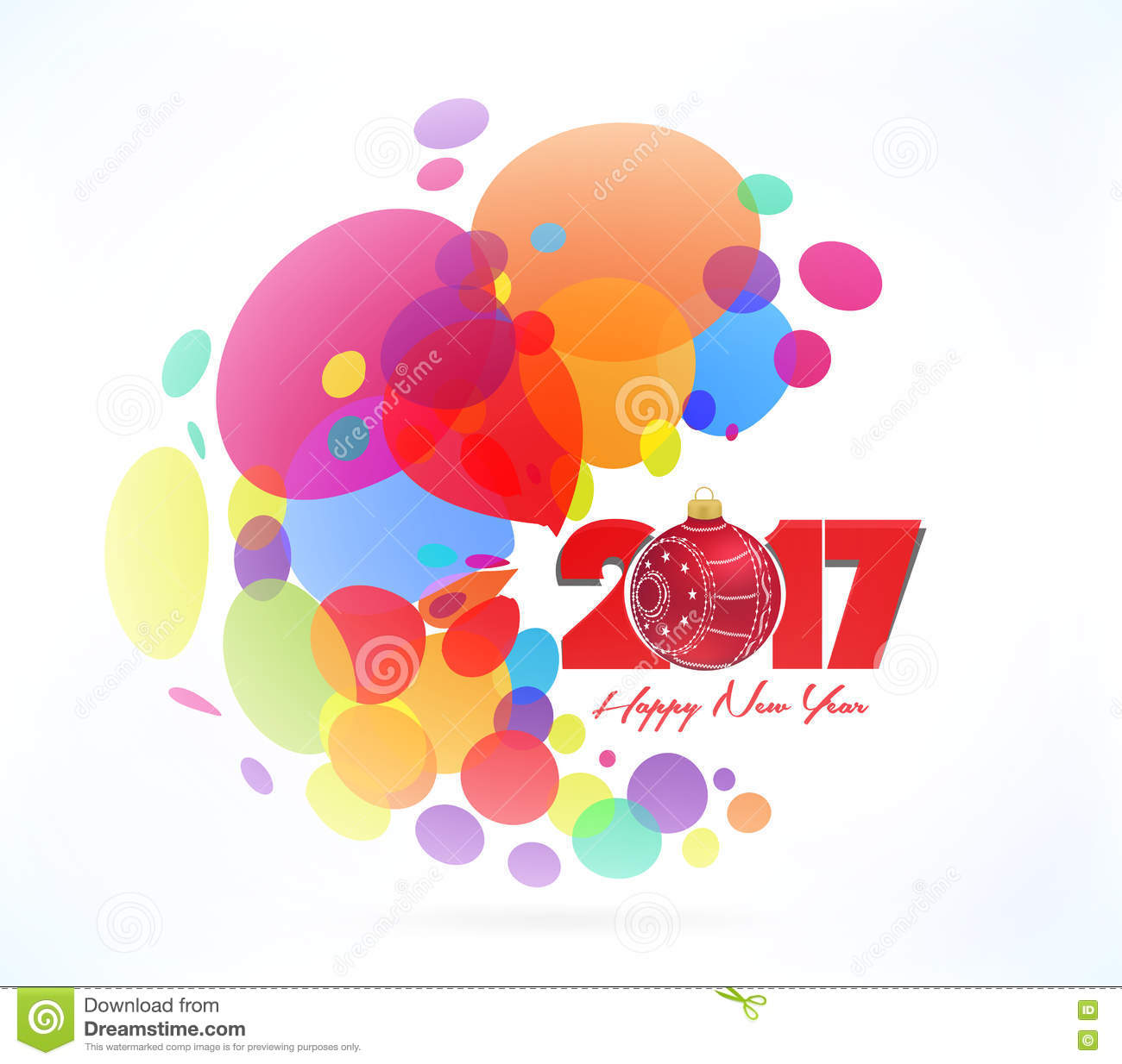 christmas and happy new year 2017 colorful abstract background