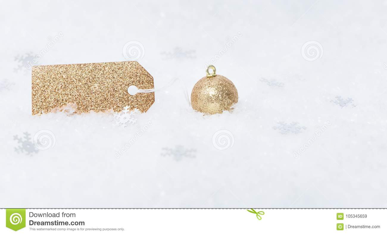 christmas or happy new year concept with blank glittering label