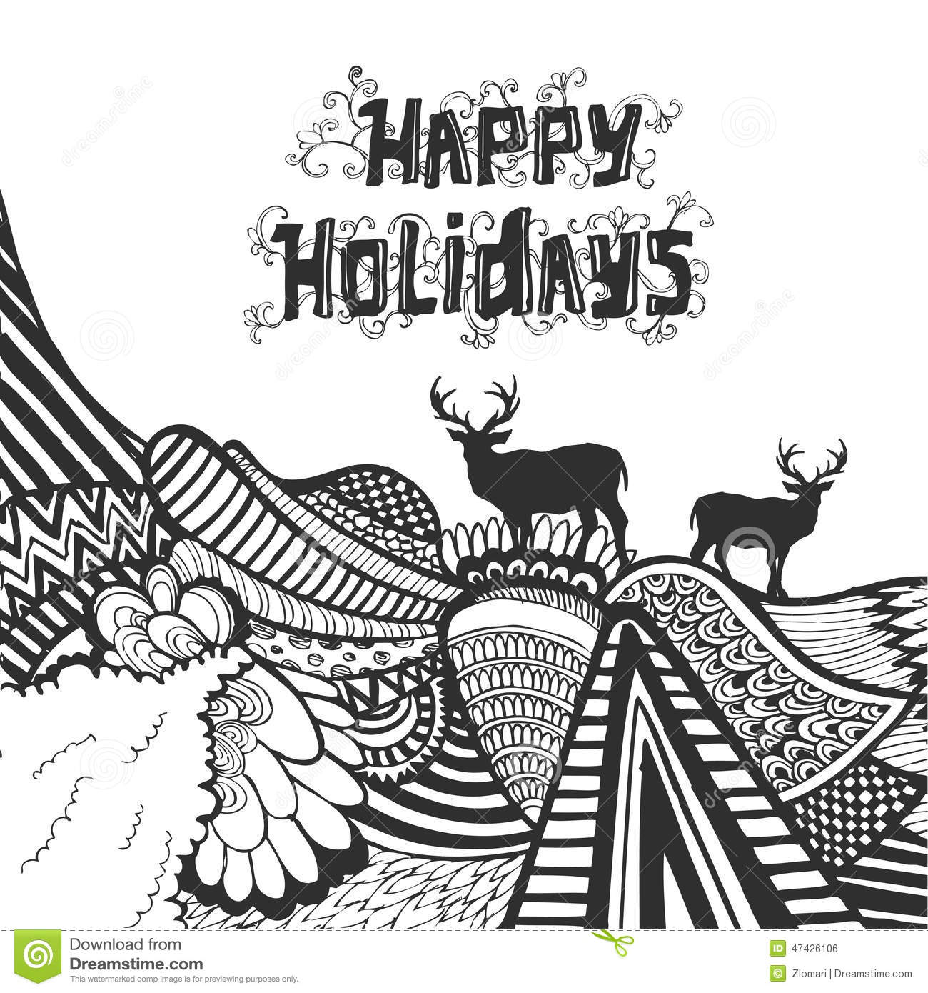 Christmas And Happy New Year Doodle Sketch With Typography Stock Vector - Image 47426106