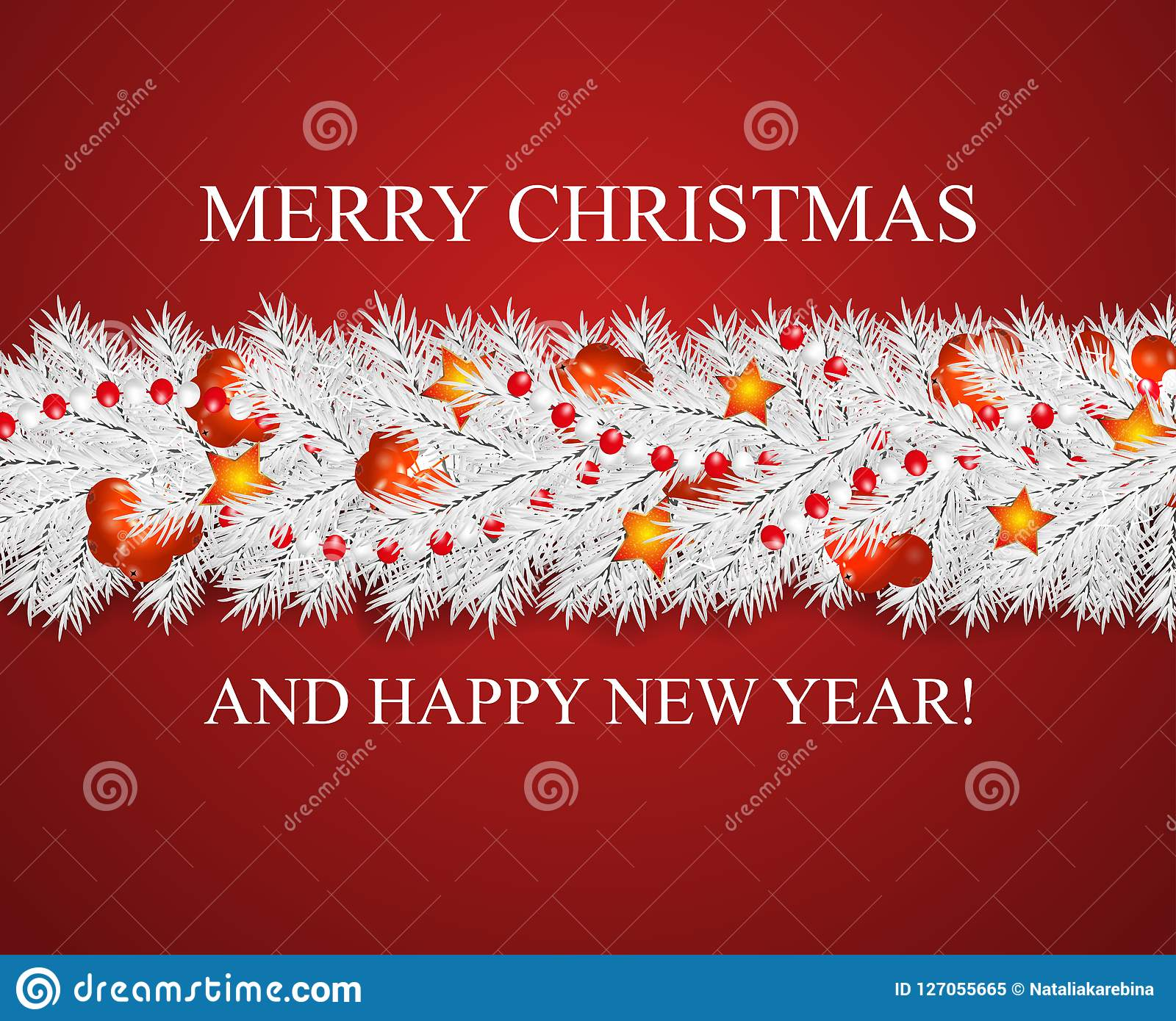 christmas and happy new year garland and border of realistic looking white christmas tree branches decorated
