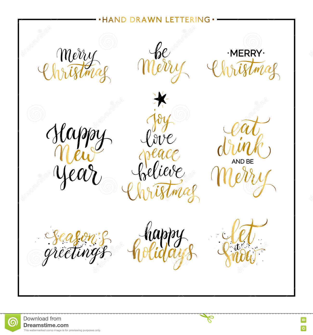 Christmas And Happy New Year Gold Quotes Stock Vector Illustration