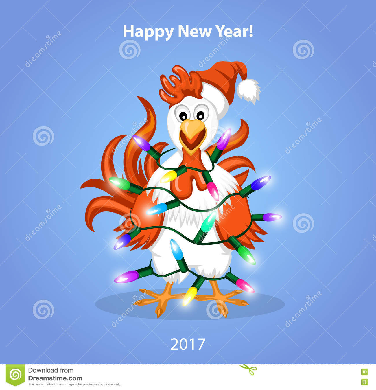 Christmas And Happy New Year Greeting Card With Cute Funny Rooster