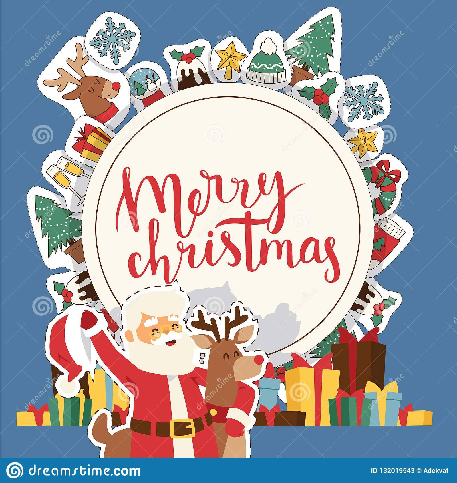 Christmas 2019 Happy New Year Greeting Card Santa And Happy