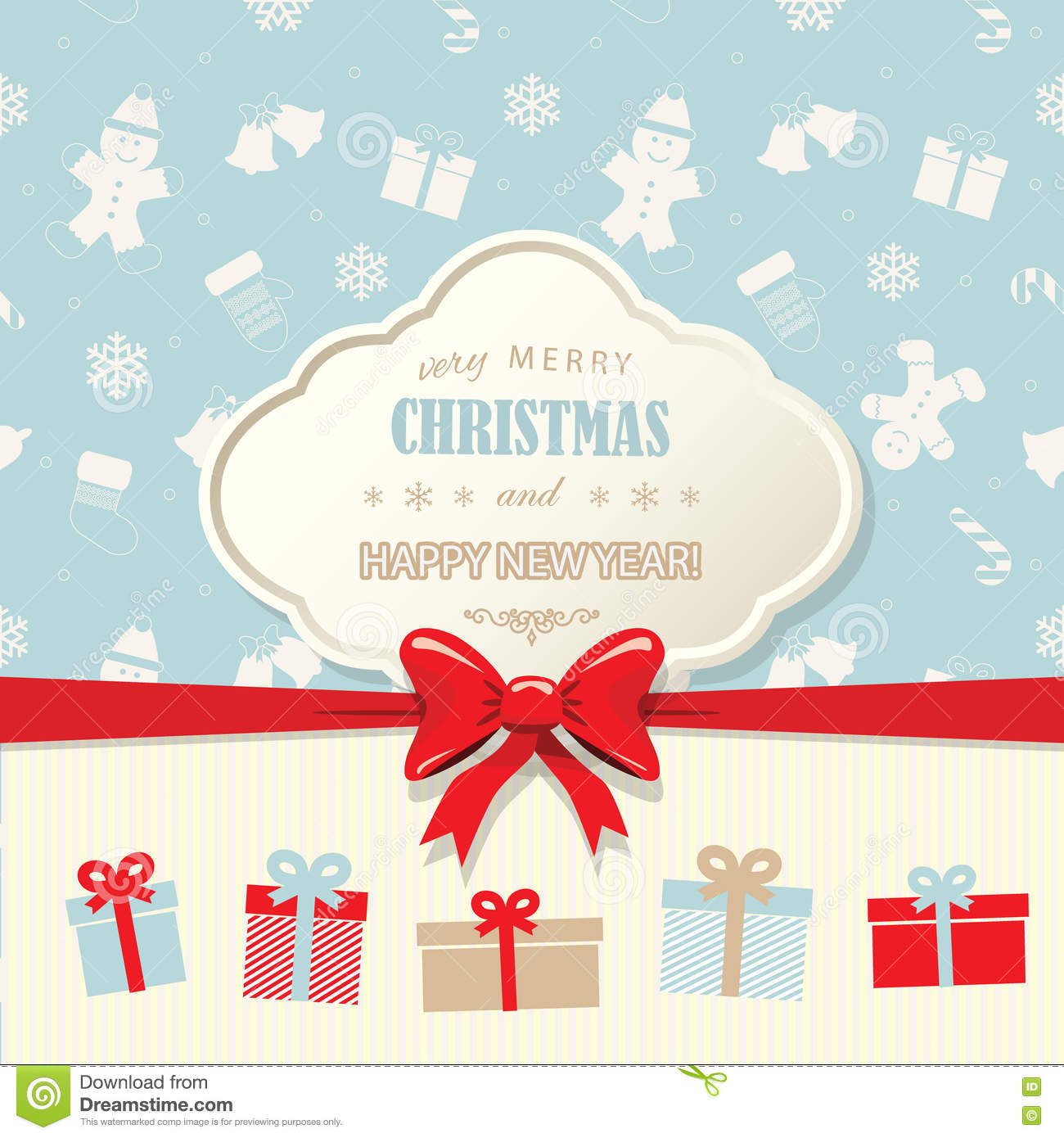 Christmas And Happy New Year Greeting Card Template Vintage – New Year Greeting Card Template