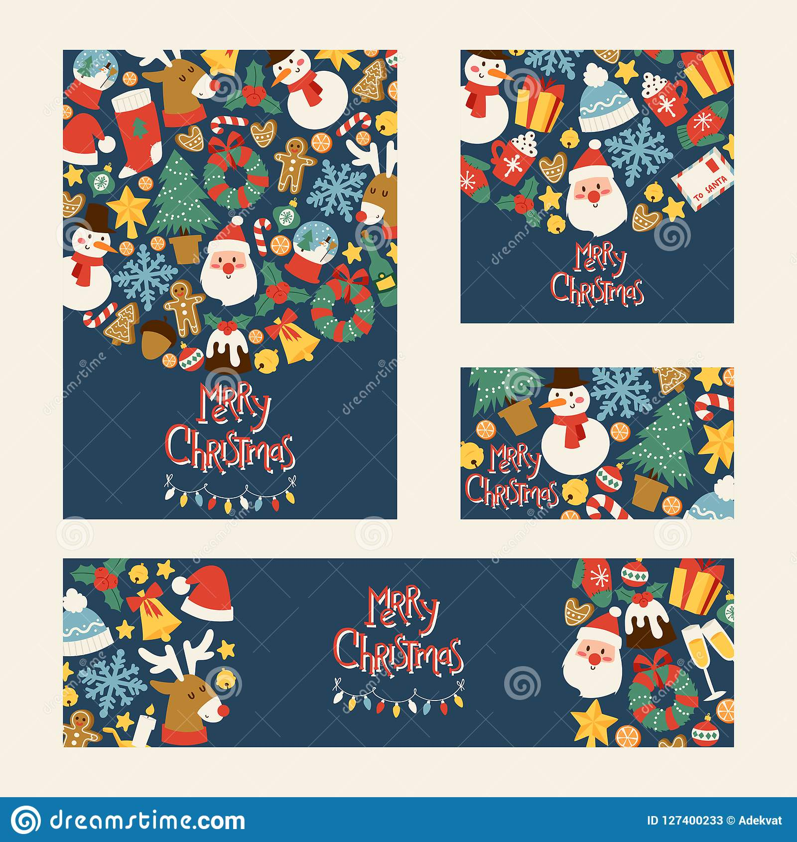 Christmas 2019 Happy New Year Greeting Card Vector Background Banner Holidays Winter Xmas Hand Draw Congratulation New Stock Vector Illustration Of Decorate Background 127400233