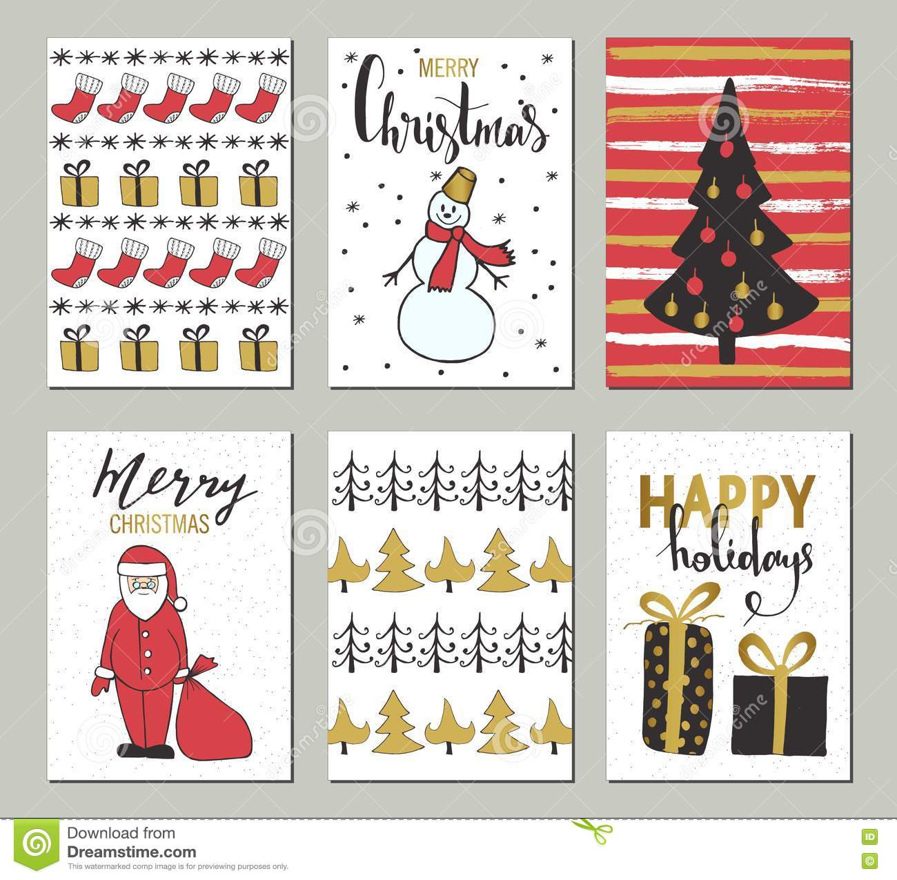 Christmas And Happy New Year Greeting Cards With Calligraphy Cute – Greeting Cards and Invitations