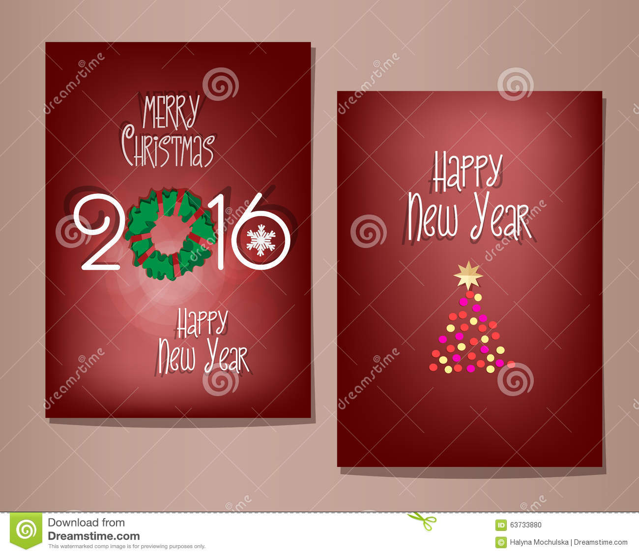 Christmas And Happy New Year Greeting Cards Set. Stock Illustration ...