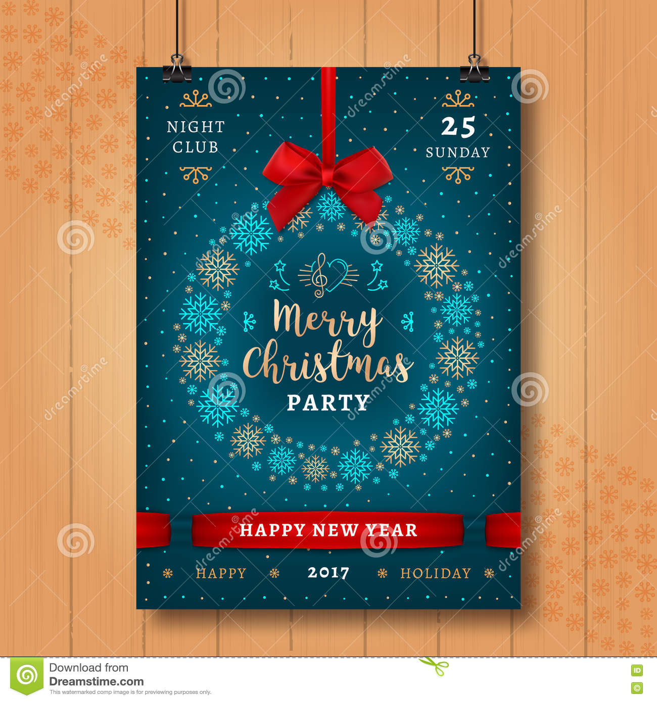 christmas and happy new year night party poster xmas invitation