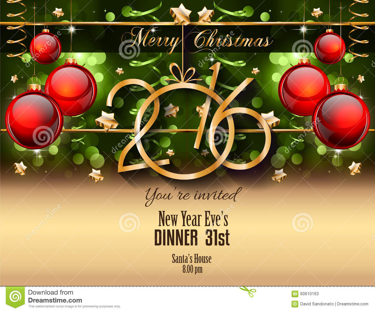 2016 christmas and happy new year party flyer stock vector