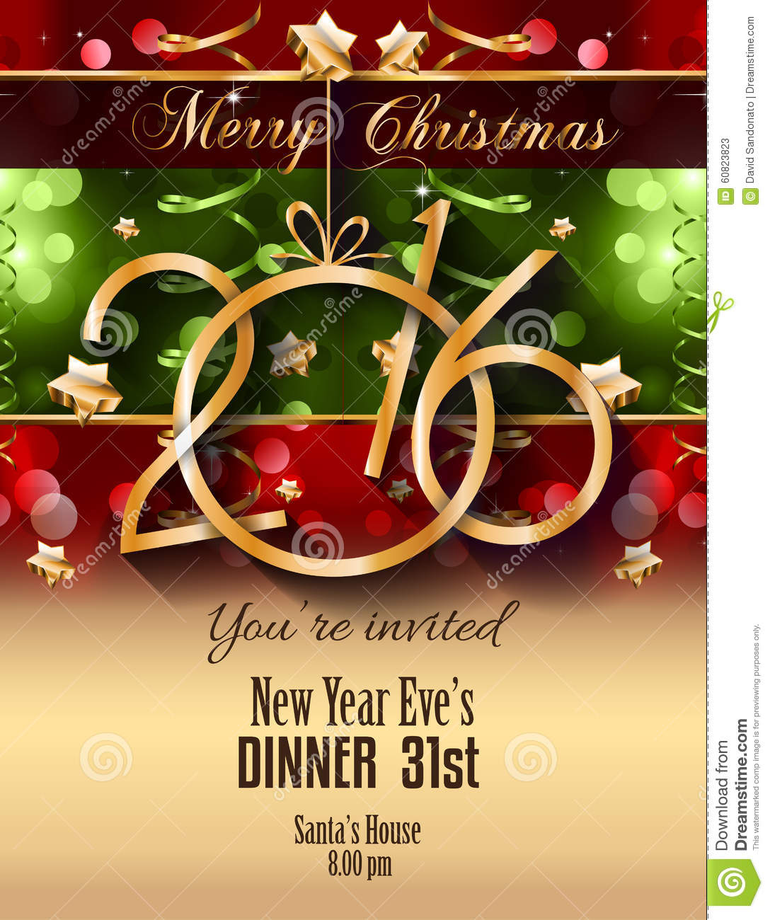 2016 christmas and happy new year party flyer complete stock vector