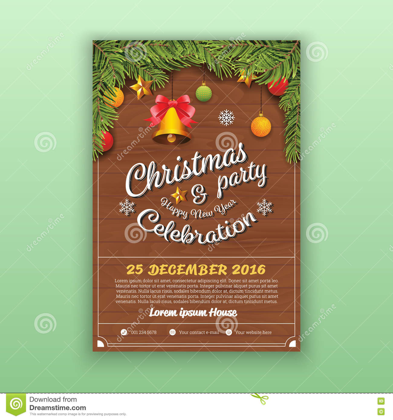 christmas happy new year party flyer template stock vector christmas happy new year party flyer template