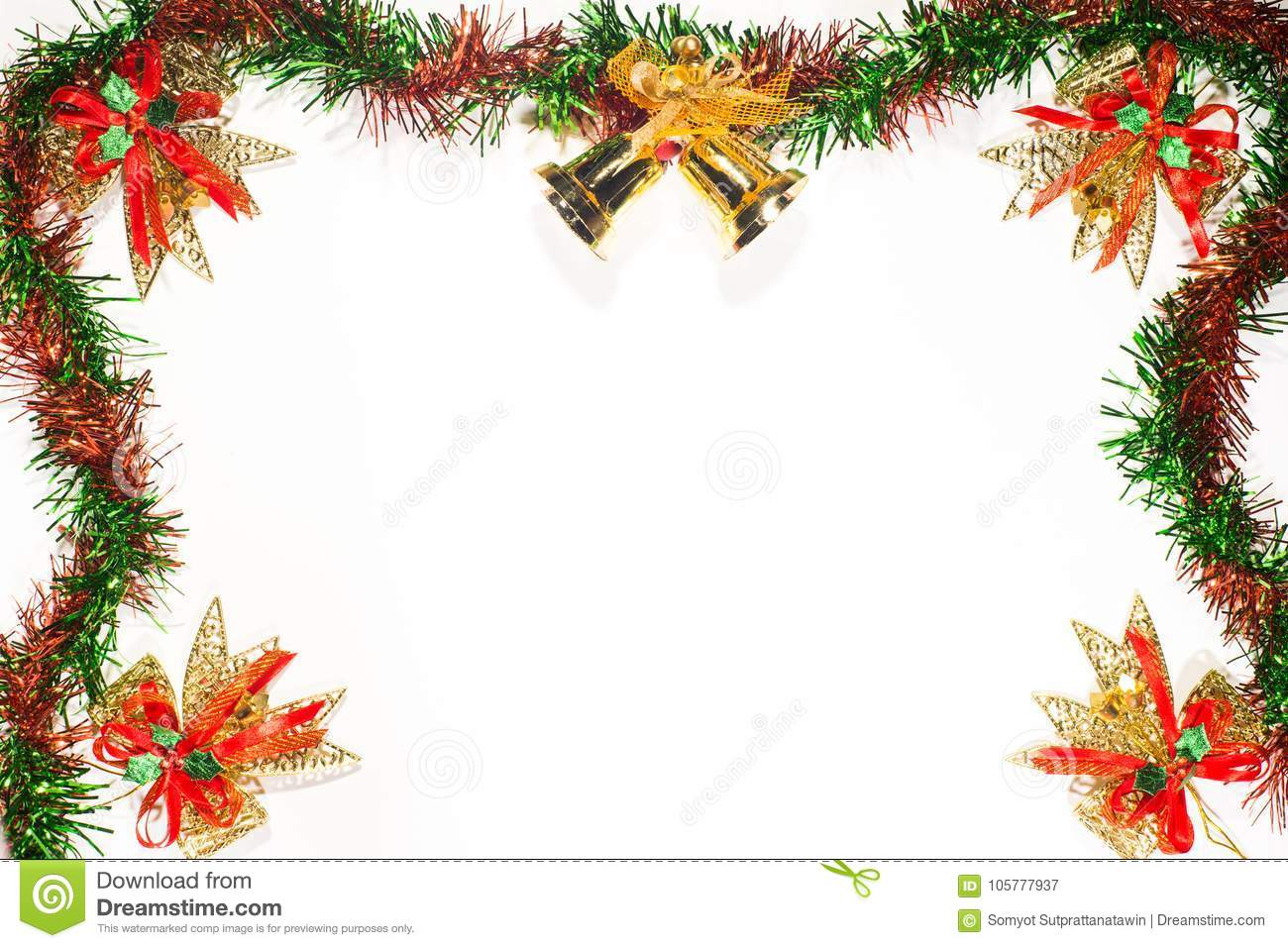 christmas and happy new year ribbon border