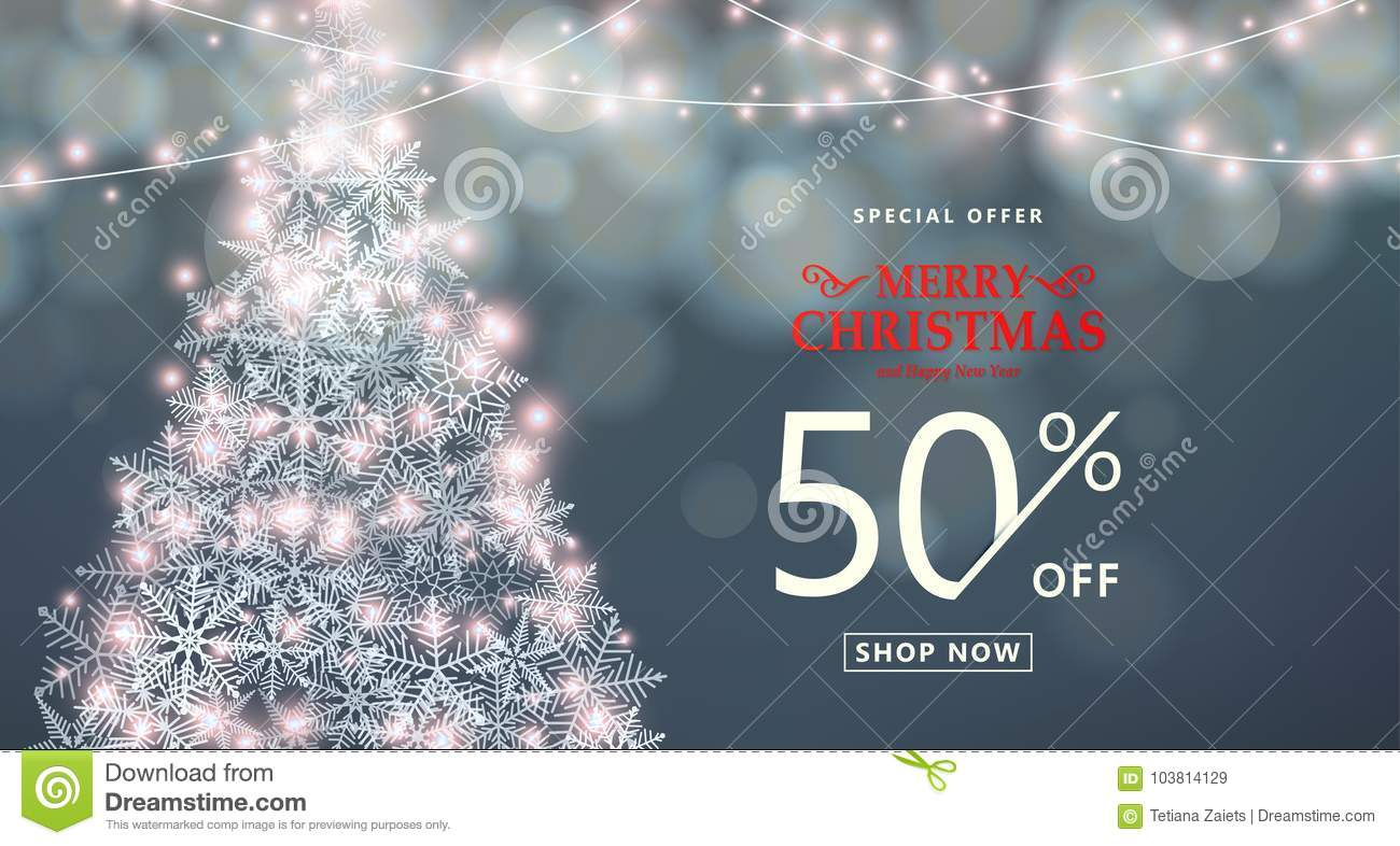 christmas happy new year sale banner special offer discount type text