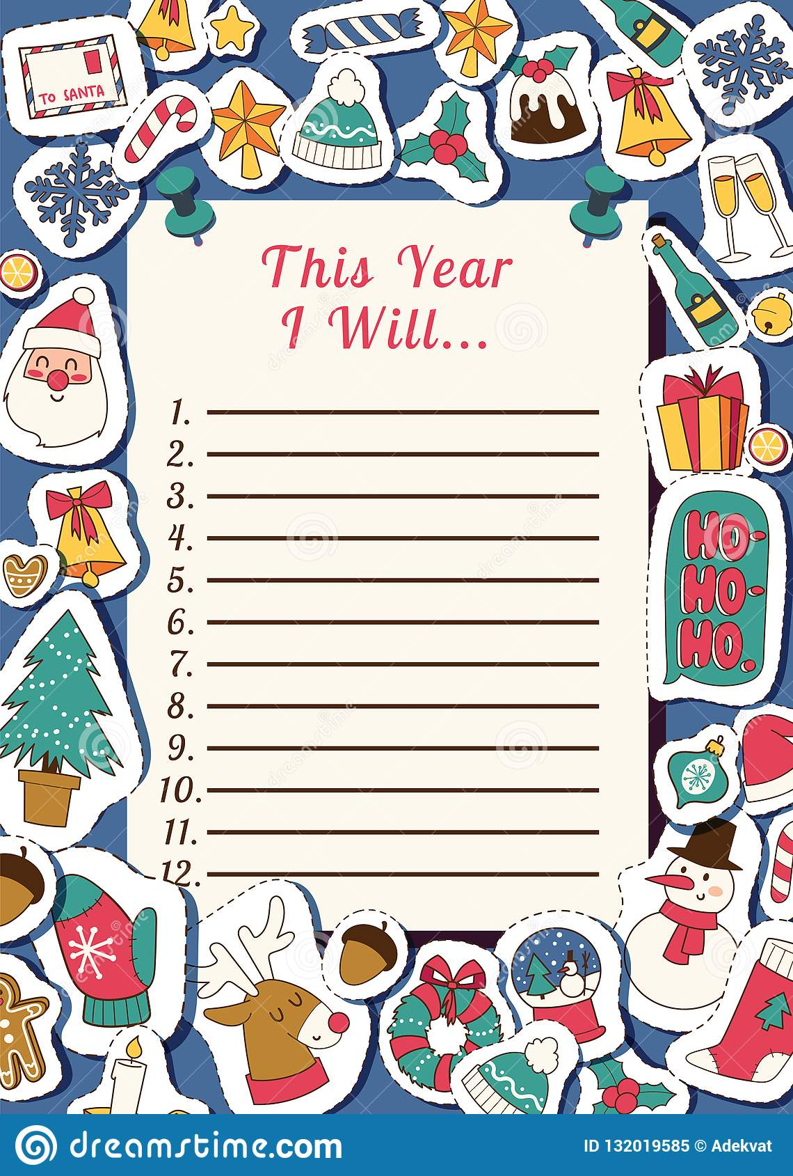 Christmas List 2019.Christmas 2019 Happy New Year Santa Letter Greeting Card