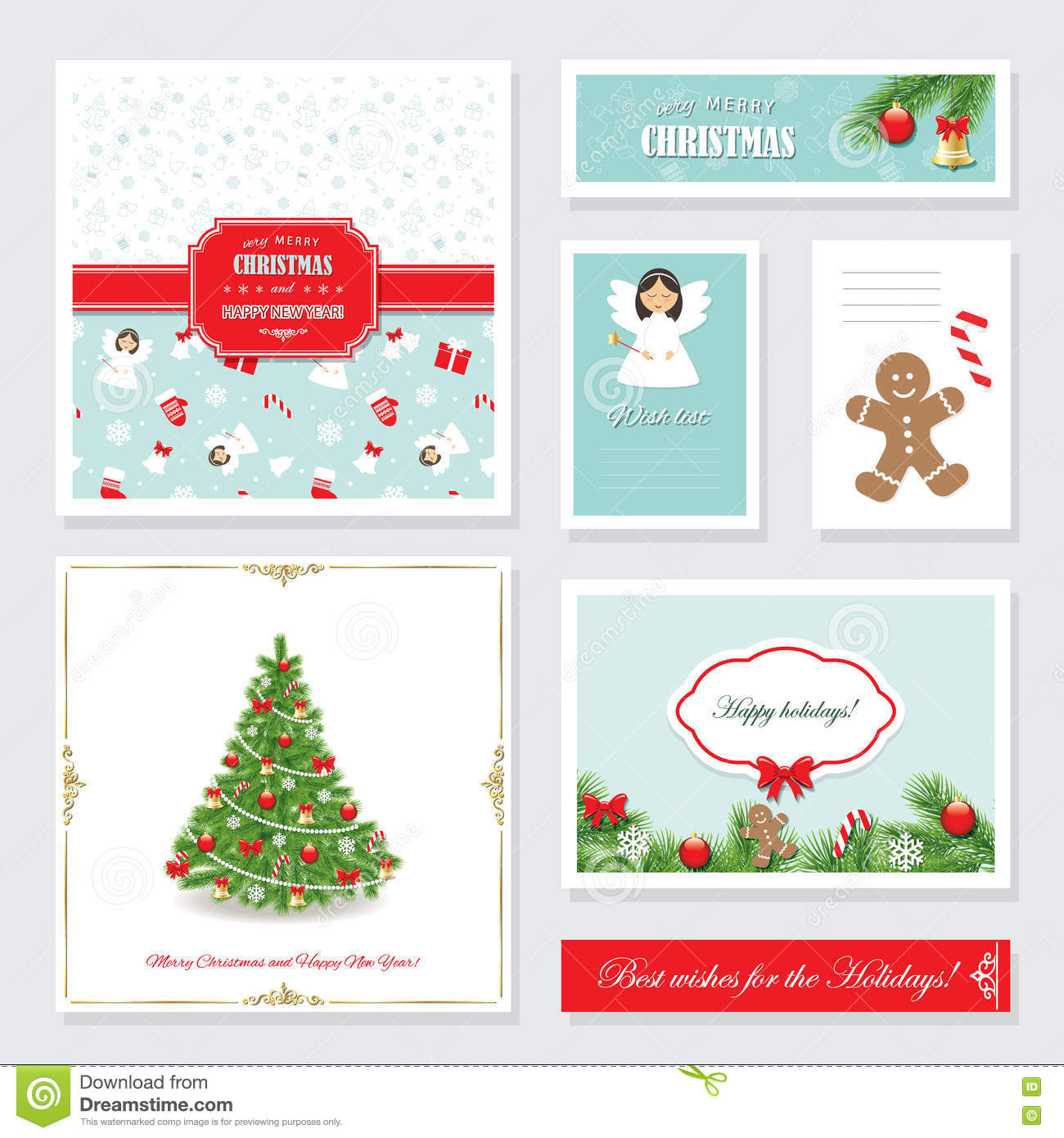 download christmas and happy new year templates set stock vector illustration of frame