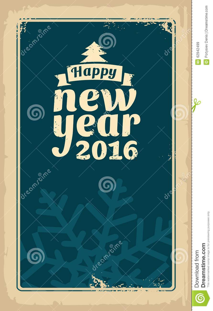 christmas and happy new year 2016 vector vintage illustration for greeting card poster