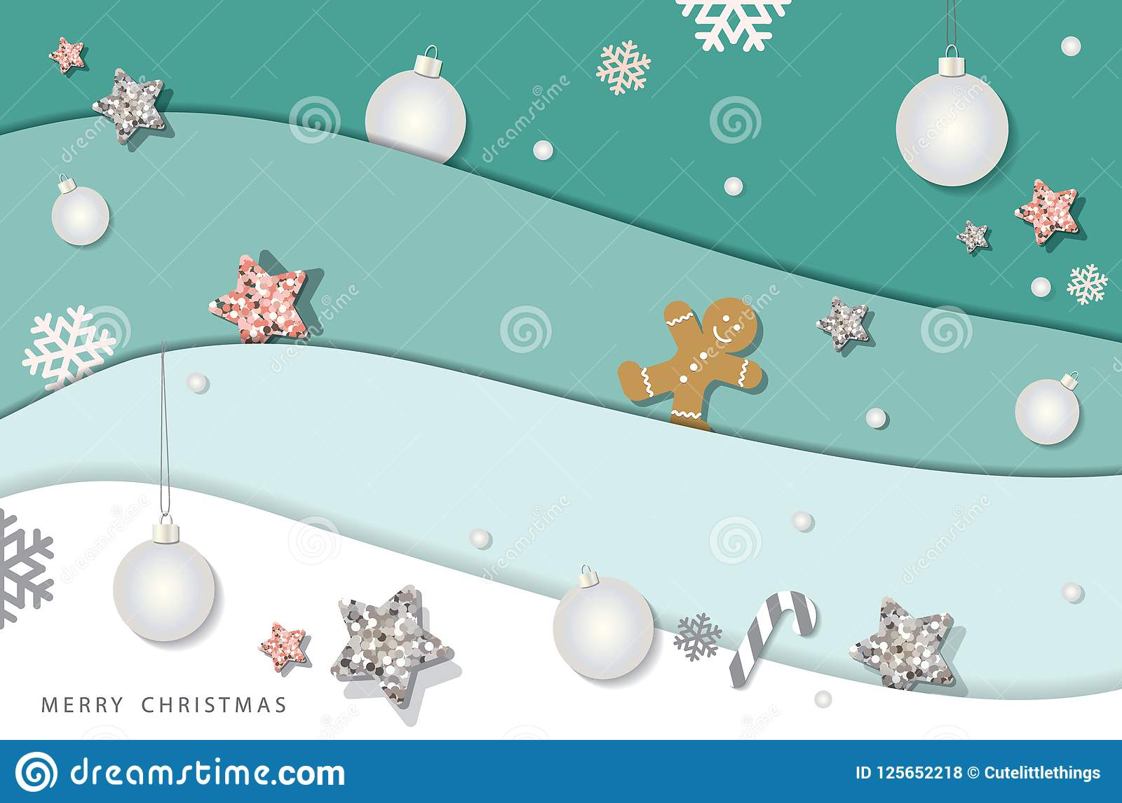 download christmas and happy new year winter background paper cutout layers decorated with glitter