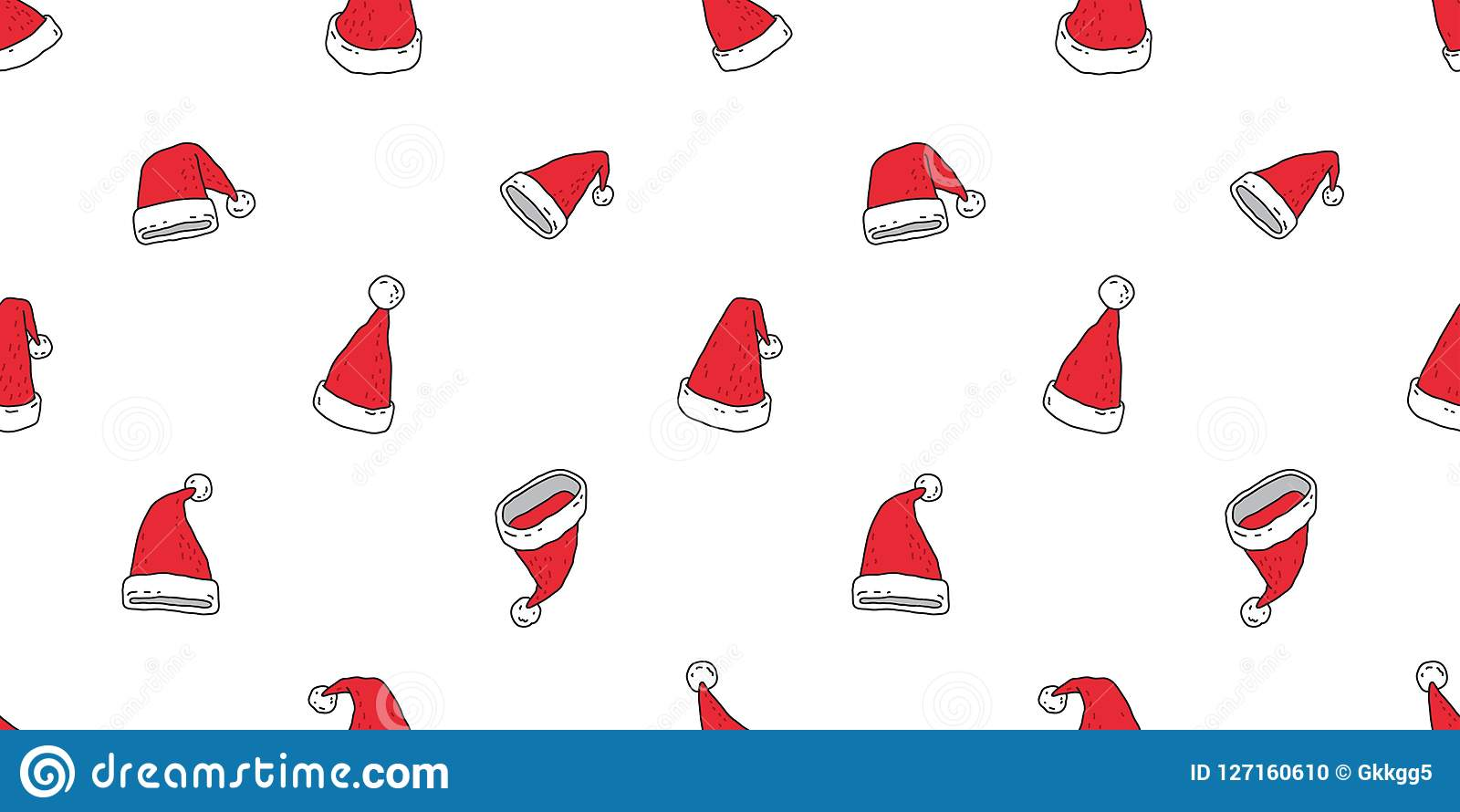 Christmas Hat Seamless Pattern Santa Claus Snowman Cartoon