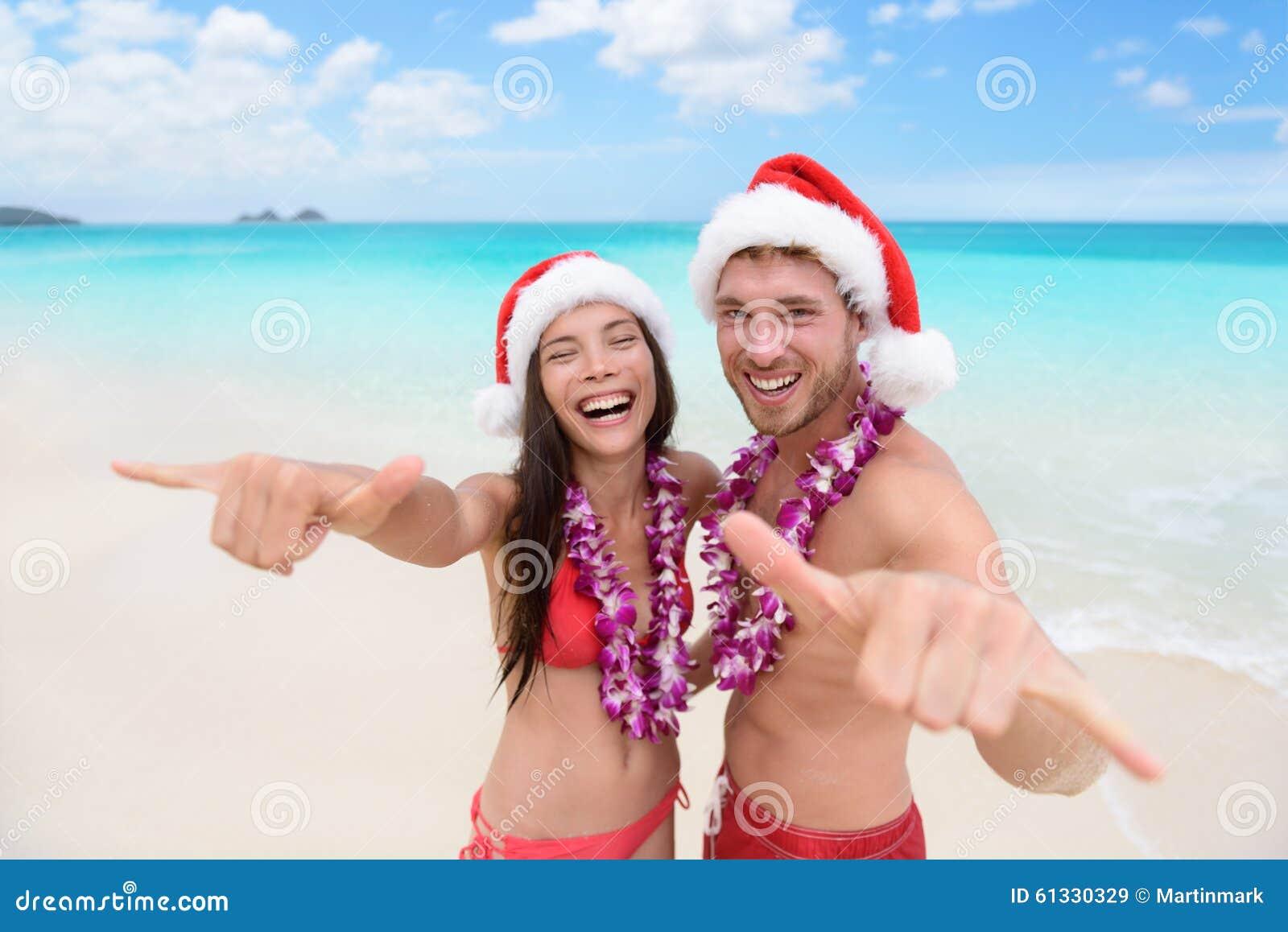 Christmas In Hawaii Images.Christmas Hawaii Vacation Hawaiian Beach Couple Stock