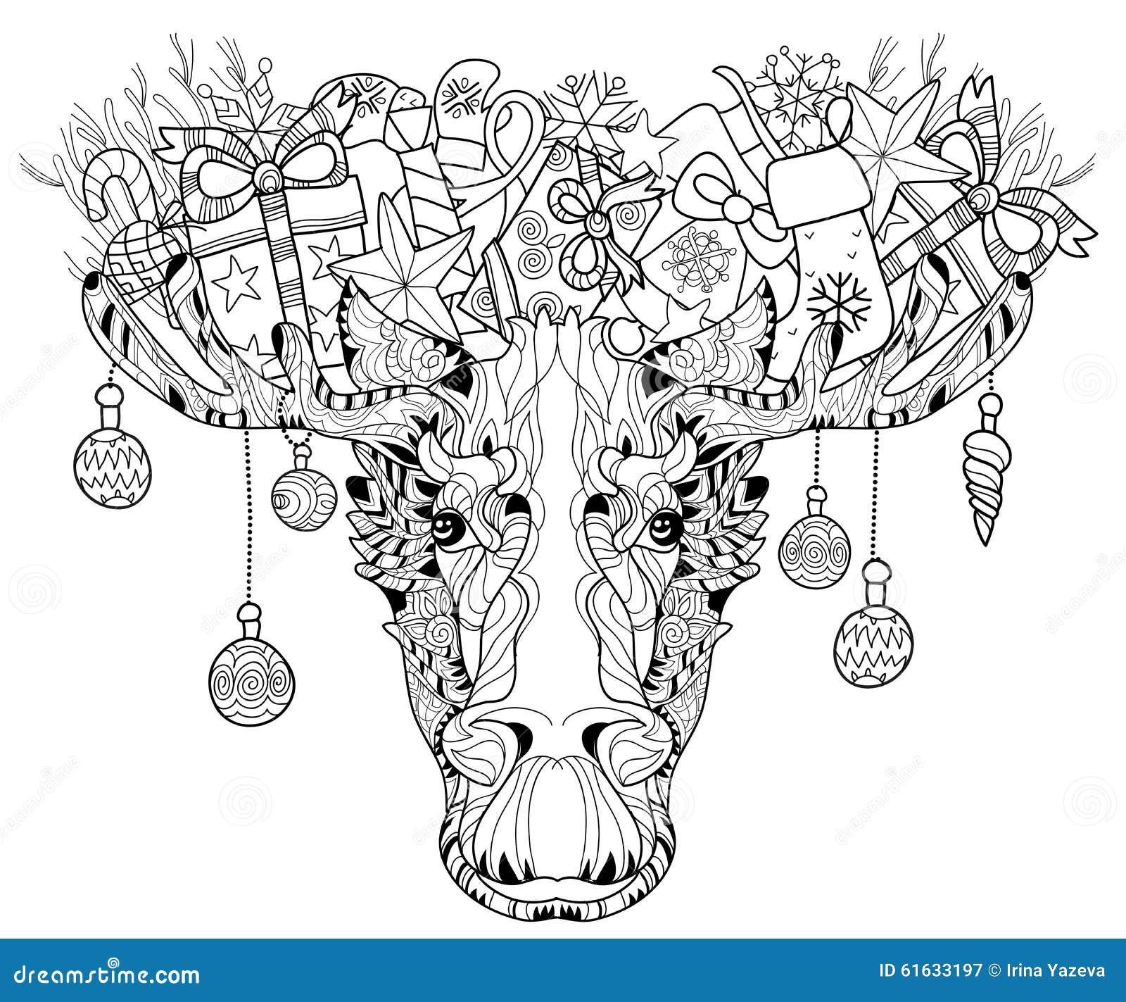 Christmas Head Of Elk Layered Vector Illustration Stock Vector ...