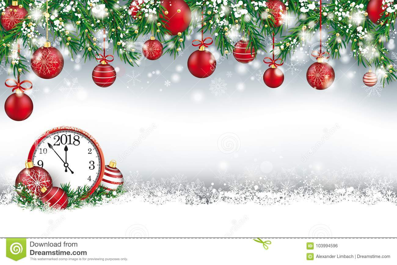 Christmas Header Green Twigs Snow Baubles Clock 2018 Stock Vector ...