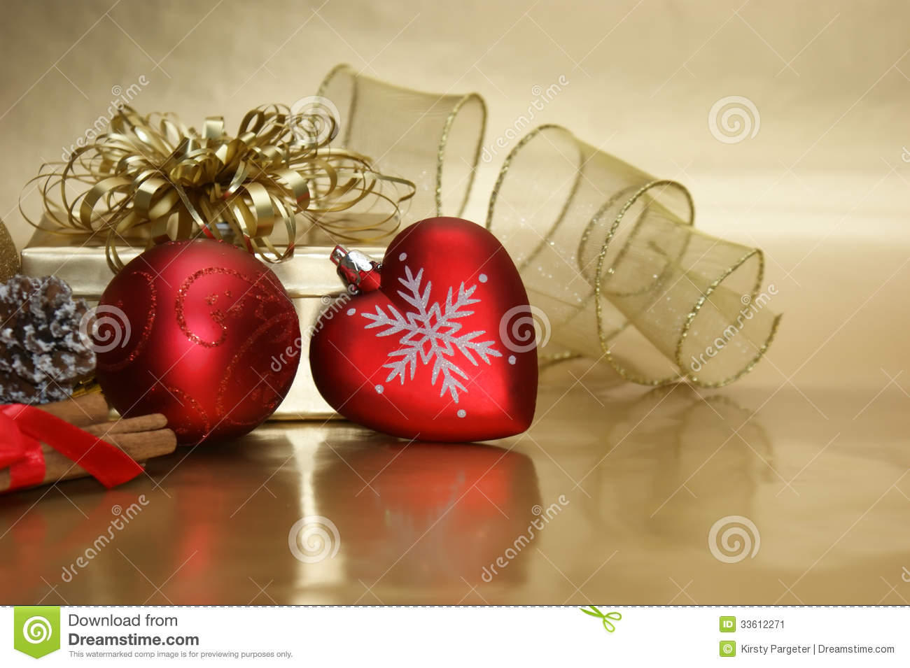 Christmas heart bauble background stock image of
