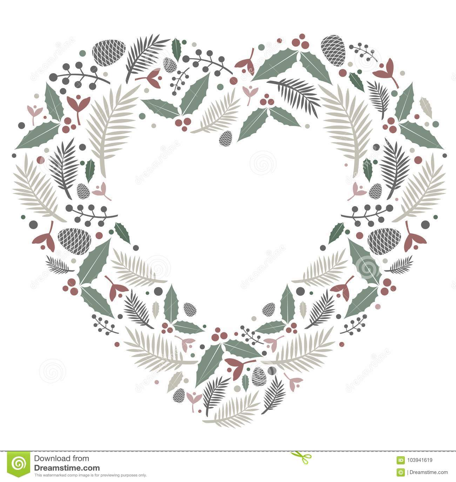 Christmas Heart Vector.Christmas Heart Composition Flat Vector Stock Vector