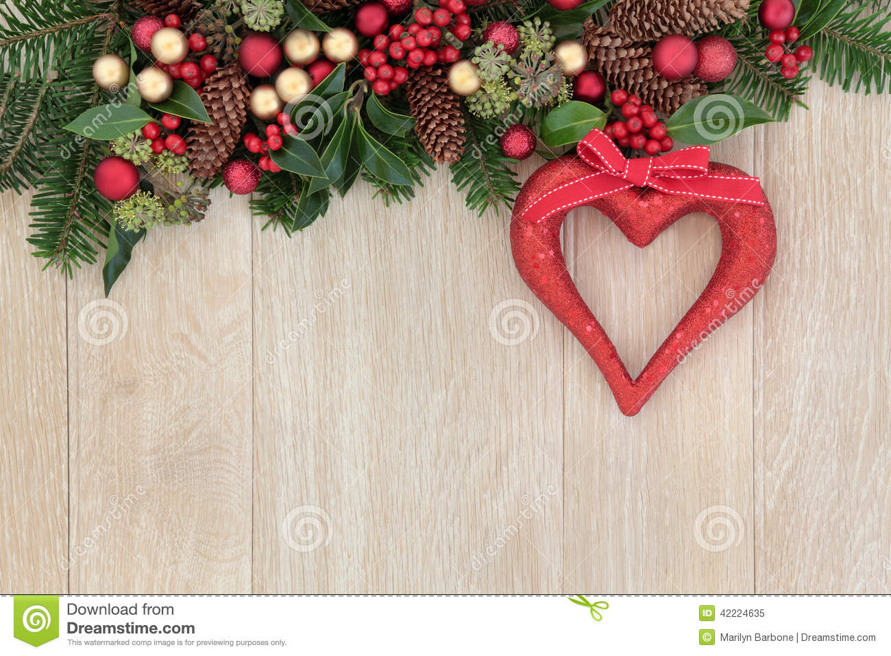 Christmas heart decoration stock image of abstract