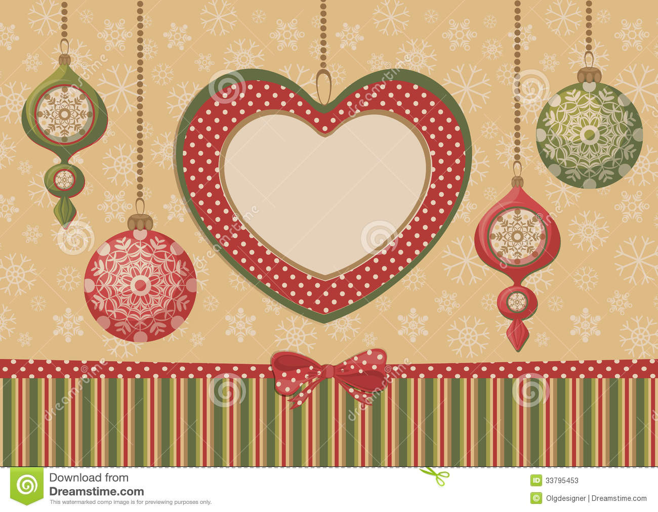 christmas heart frame with ornaments