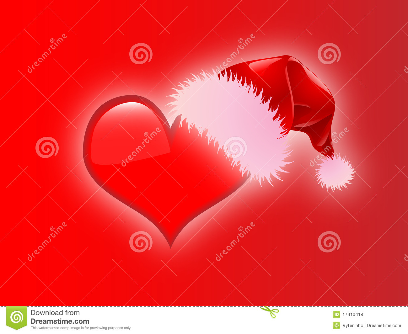Christmas Heart.Christmas Heart With Santa Hat Red Background Stock Vector
