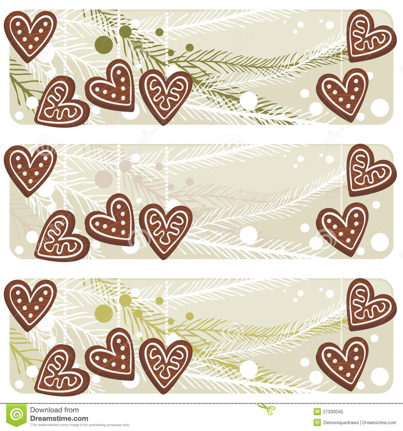 Christmas heart shaped gingerbread banner royalty free