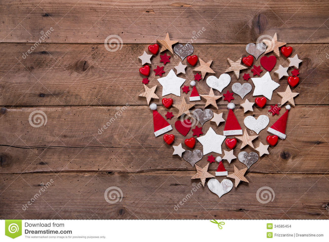 christmas heart on a wooden background decoration in red and white stock photo image 34585454. Black Bedroom Furniture Sets. Home Design Ideas