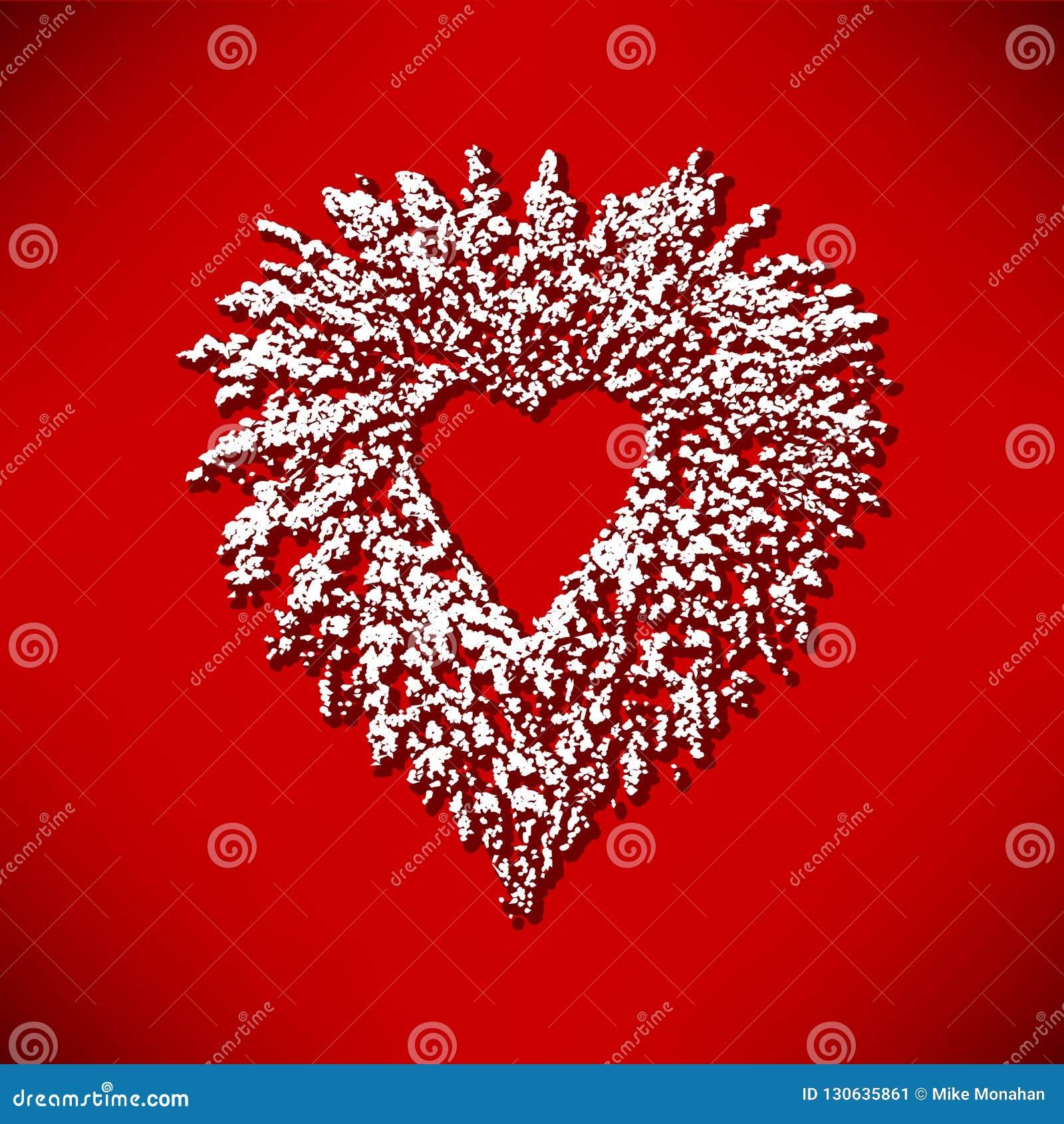Christmas Heart Wreath.Christmas Heart Wreath Graphic Stock Vector Illustration