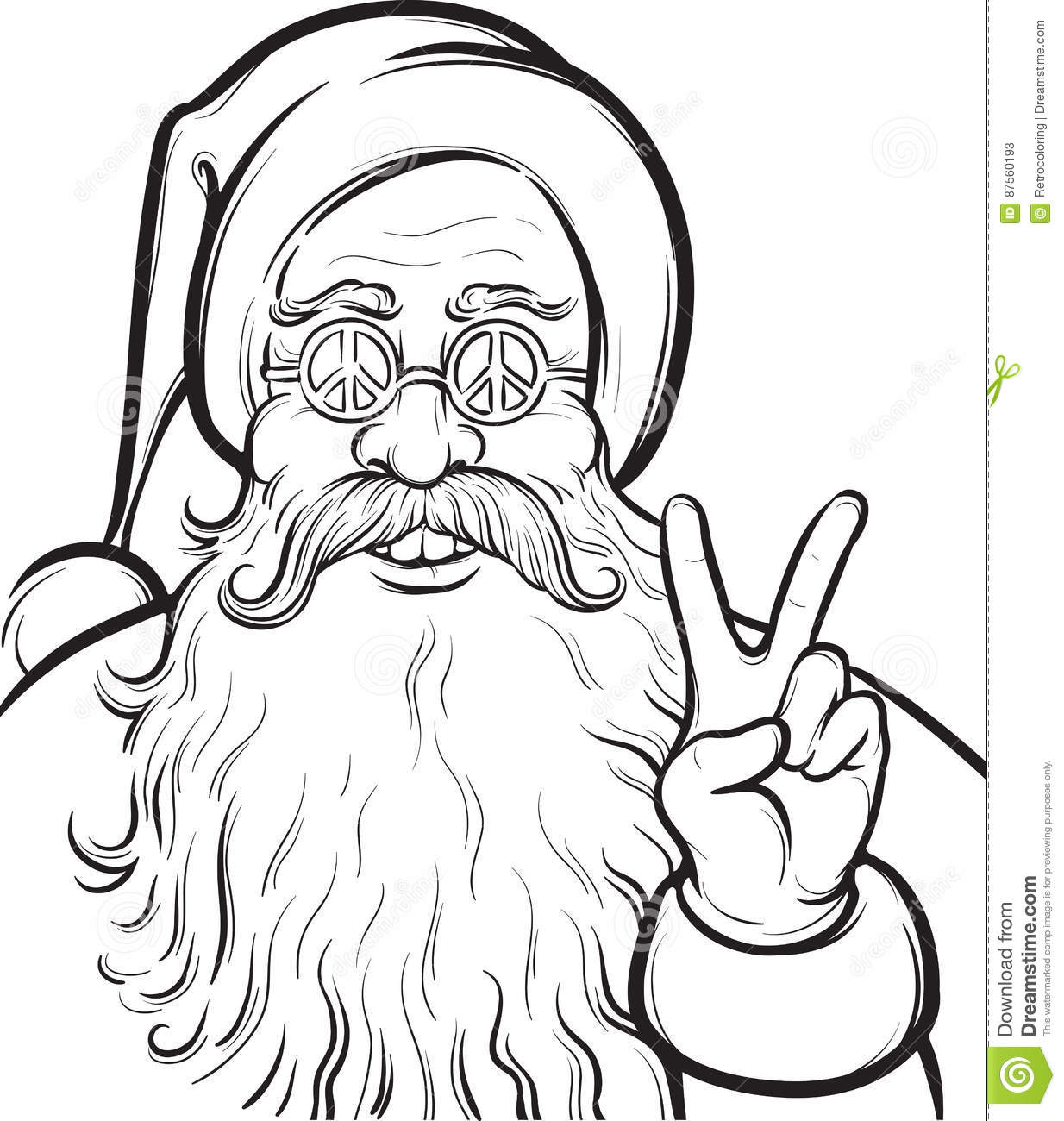 Christmas Hippie Coloring Page With Santa Claus Stock Vector