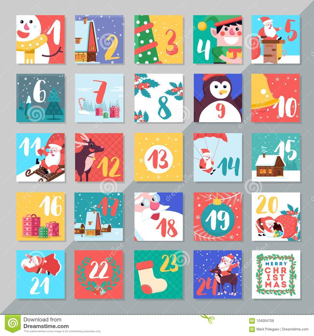 Typography Advent Calendar : Christmas holiday advent calendar template design merry