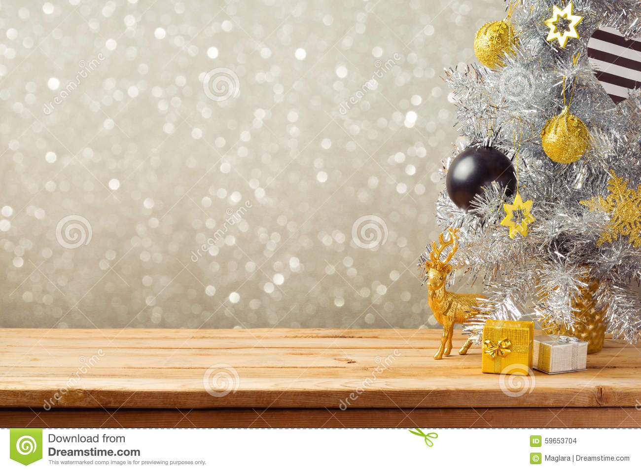 Christmas Tree Decoration Lights : Christmas holiday background with tree and