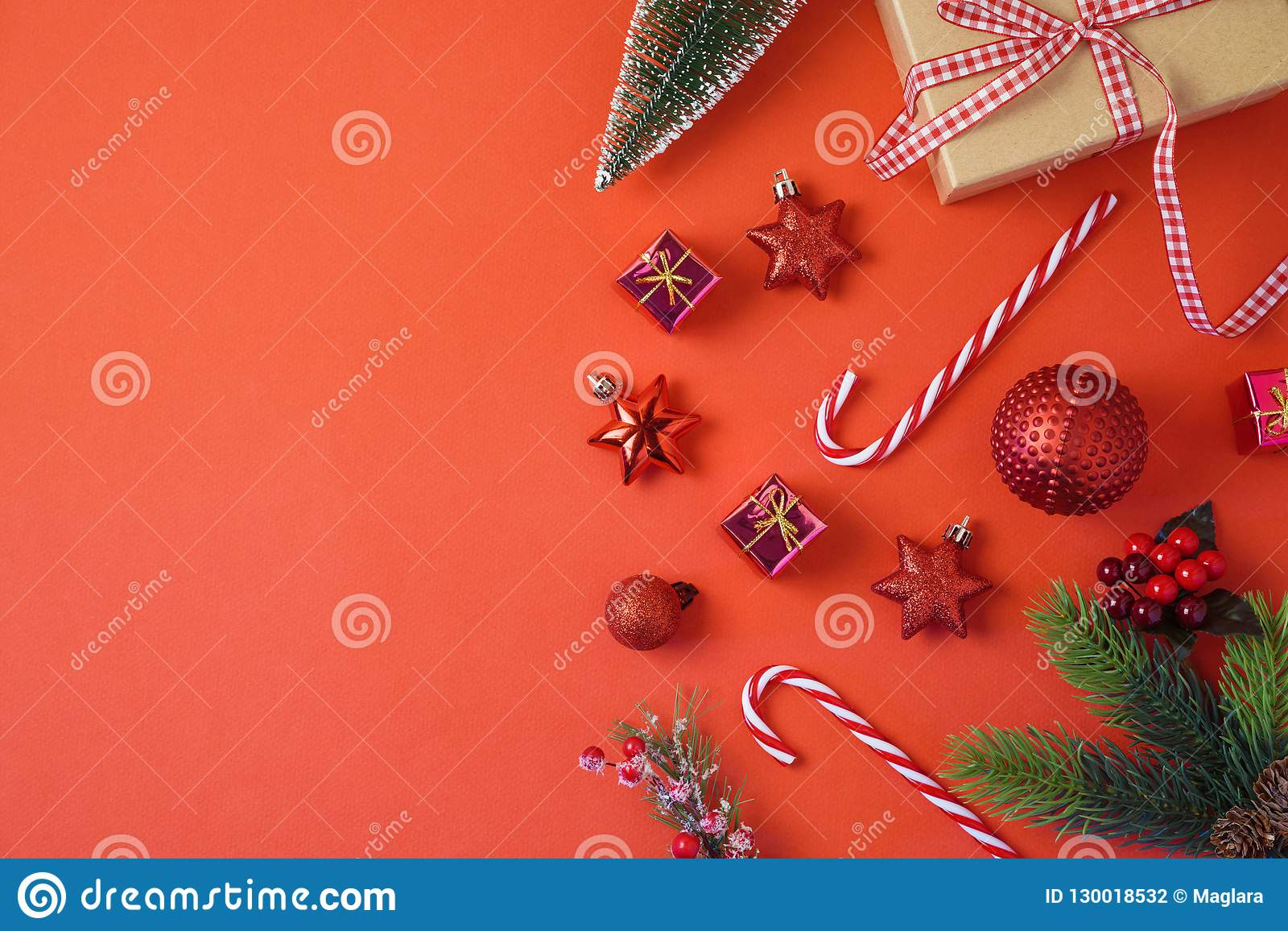 Christmas holiday background with decorations and ornaments on r