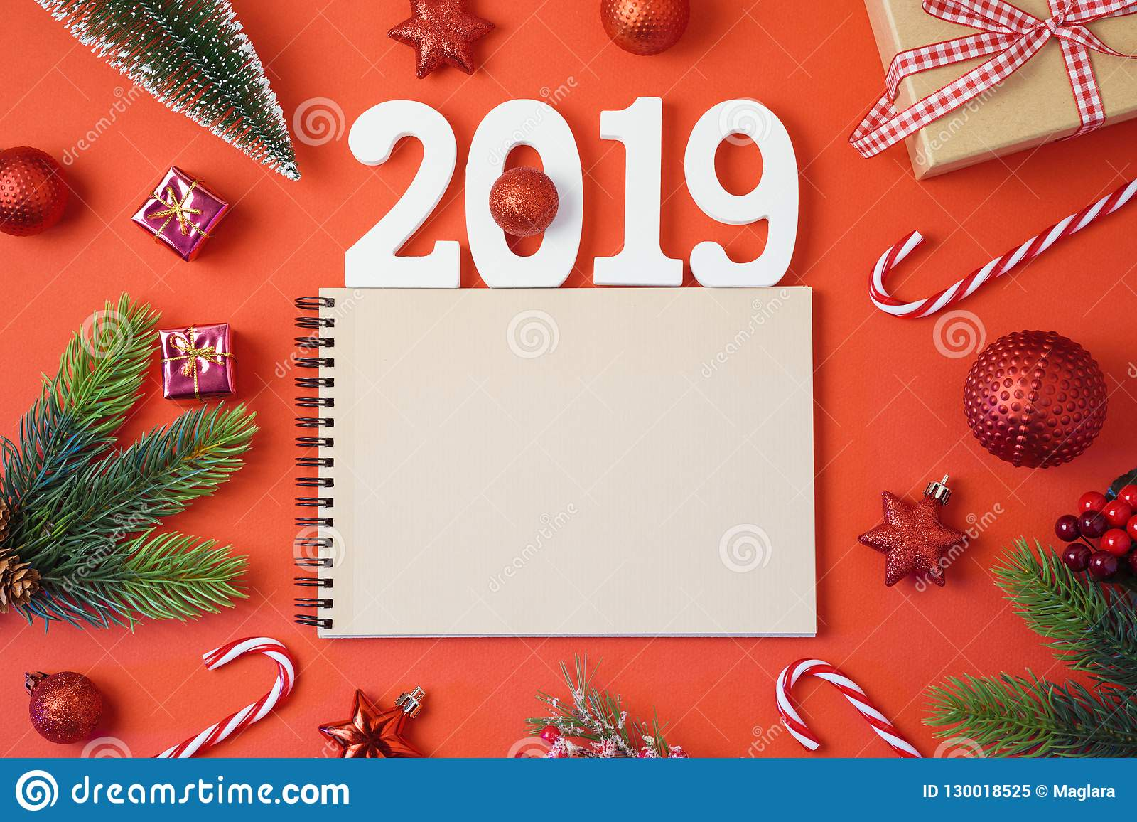 Christmas holiday background with notebook, 2019 new year and de