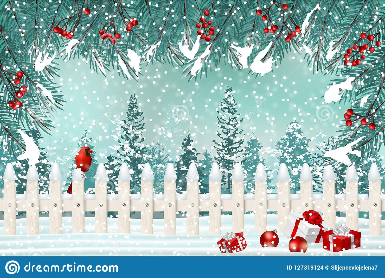 Christmas Holiday Background.Christmas Holiday Background With Pocket Fence Cardinal