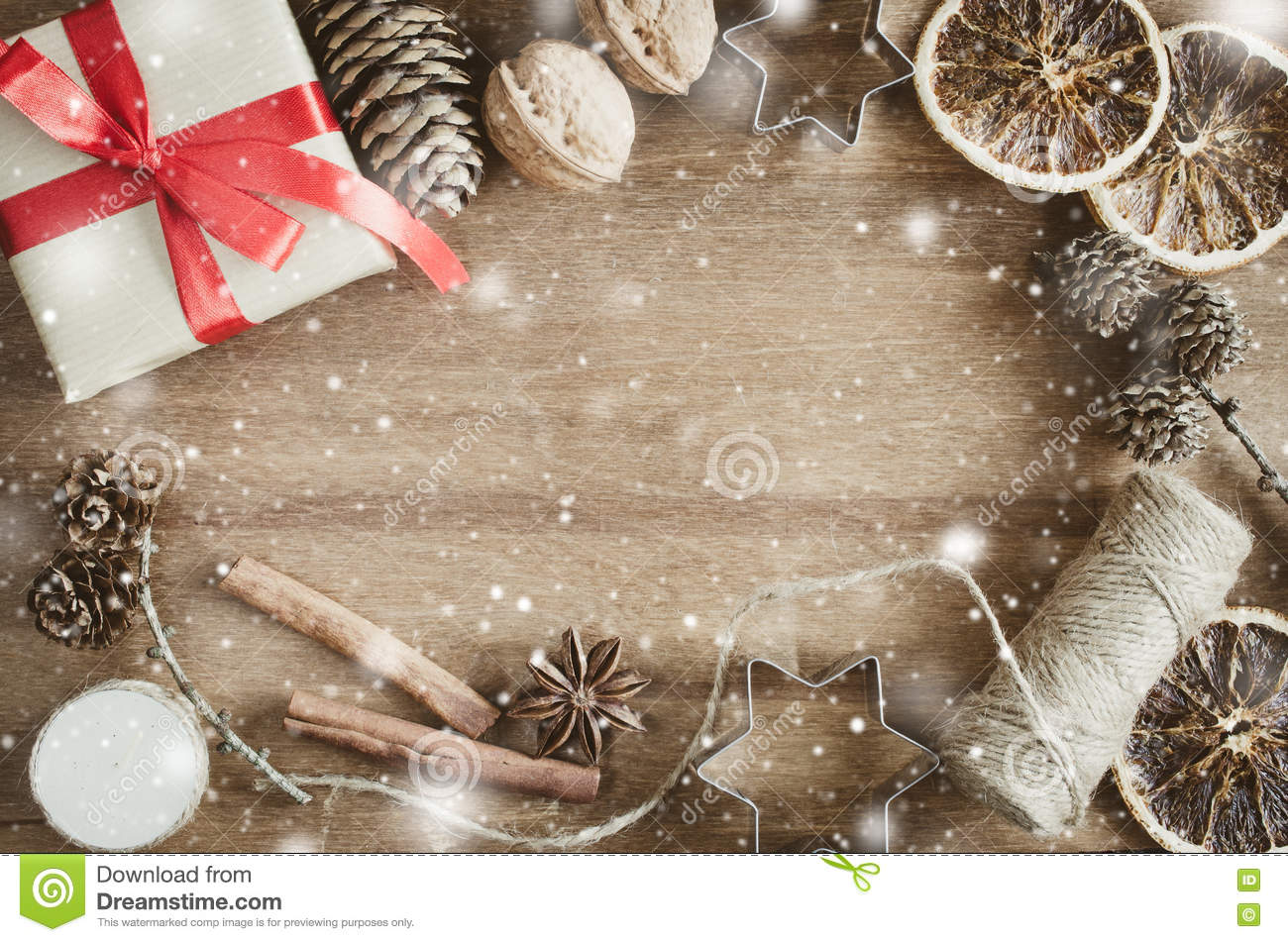 Royalty Free Stock Photo Download Christmas Holiday Background Rustic Xmas Decorations