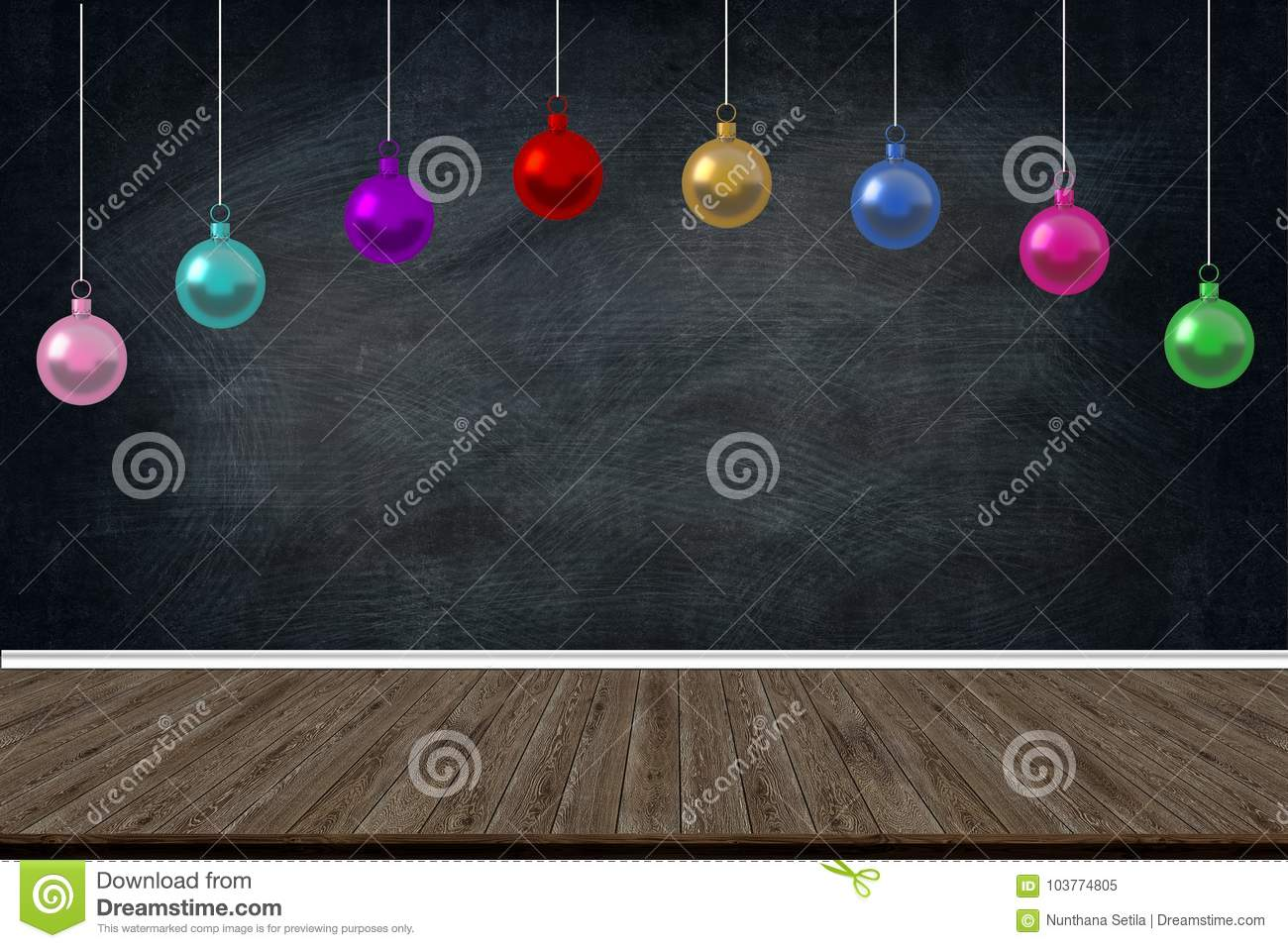 Christmas Holiday Balls ornaments hanging in the class of school on blackboard background. picture copy space for art work design