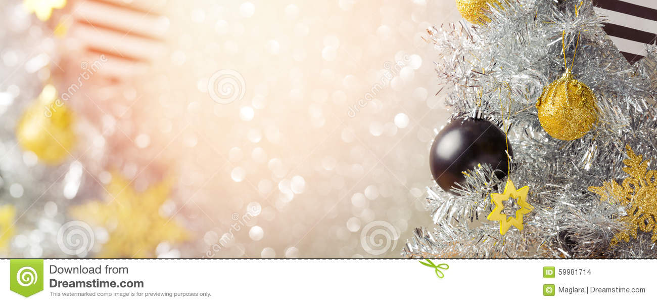 Christmas Holiday Banner Design With Christmas Tree Over Bokeh ...