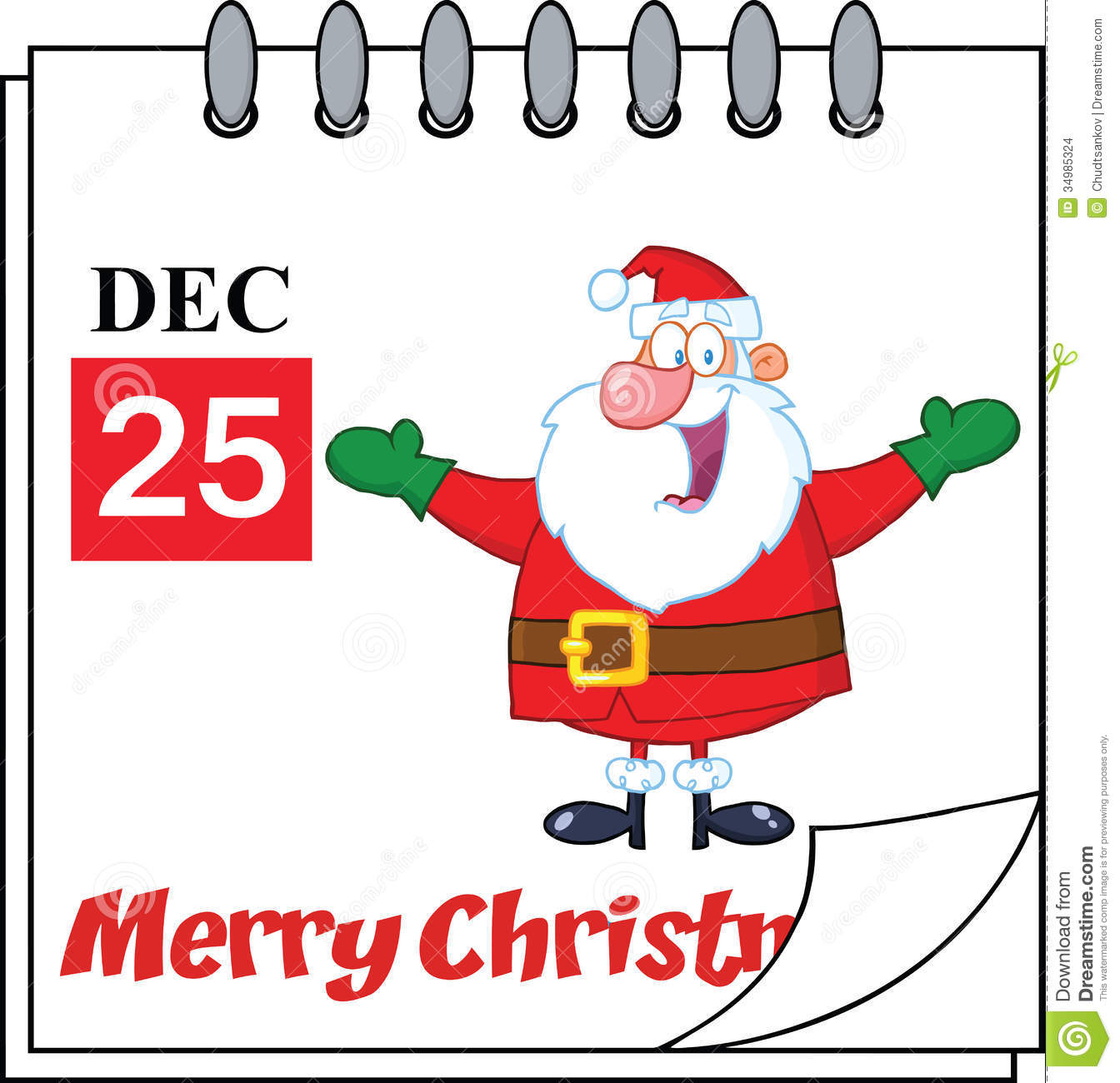 Christmas Calendar Pictures : Christmas holiday calendar with jolly santa claus